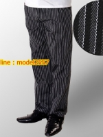 K6105003 กางเกงพนักงานโรงแรมผู้ชายสีดำ กางเกงทำงานผู้ชายสีดำ