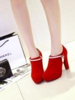 VW5711002 รองเท้าส้นสูง สีแดงสด แต่งคริสตัล แฟชั่นเกาหลี (พรีออเดอร์) รอ 3 อาทิตย์หลังโอนเงิน