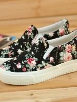 TW6101002 รองเท้าผ้าใบพิมพ์ลายดอกไม้หวานไร้สายผู้หญิงแฟชั่นเกาหลี(พรีออเดอร์)