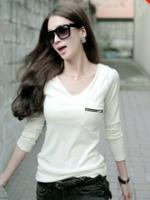 U6005009 เสื้อยืดสาวเกาหลี คอกลม แต่งซิปอก สีขาว ดำ (พรีออเดอร์) รอ 3 อาทิตย์หลังโอนเงิน