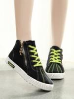 TW5807003 รองเท้าผ้าใบผู้หญิงแฟชั่นเกาหลี แต่งซิป(พรีออเดอร์) รอ 3 อาทิตย์หลังโอนเงิน