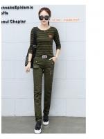 ้HW6107008 กางเกงขายาวทหารหญิงสีเขียวกองทัพทหารลายพราง แฟชั่นเกาหลี (พรีออเดอร์) รอ 3 อาทิตย์หลังโอนเงิน