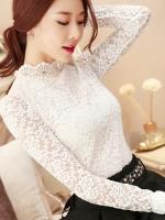 RP5911045 เสื้อลูกไม้เกาหลีสวยหวาน คอสูงแขนยาว (พรีออเดอร์)