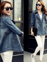 FW6009011 เสื้อคลุมแจ็กเก็ตยีนส์ตัวยาวคอปกเสื้อกันหนาวสาวเกาหลี (พรีออเดอร์) รอ 3 อาทิตย์หลังโอนเงิน