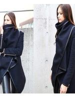 CW6010009 เสื้อโค้ทเสื้อคลุมกันหนาวเกาหลีผ้าผสมขนสัตว์สีดำคอสูง(พรีออเดอร์)