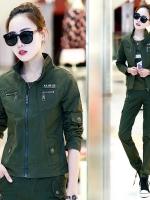 HW6010003 เสื้อแจ็กเก็ตทหารหญิงฤดูใบไม้ผลิและฤดูร้อนสีเขียวกองทัพ(พรีออเดอร์) รอ 3 อาทิตย์หลังโอนเงิน สำเนา