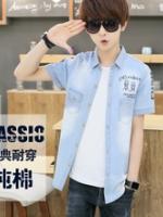 SM5906003 เสื้อยีนส์ชายวัยรุ่นปกเชิ้ตแขนสั้นพิมพ์ลาย แฟชั่นเกาหลี (พรีออเดอร์) รอ 3 อาทิตย์หลังชำระเงิน