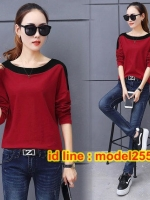 UP6103005 เสื้อยืดสีแดงคอสลับดำแขนยาวคอปาดหวานแฟชั่นเกาหลี