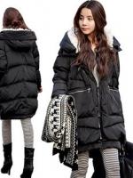 CW6010004 สีดำเสื้อโค้ทผู้หญิงผ้าฝ้ายมีฮูดซับกำมะหยี่กันหนาวเกาหลี (พรีออเดอร์) รอ 3 อาทิตย์หลังชำระเงิน