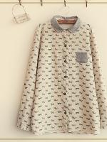 GW5712008 เสื้อเชิ้ตสาวเกาหลี สีขาวพิมพ์ลายแมวน่ารัก (พรีออเดอร์)รอสินค้า 3อาทิตย์หลังโอนเงิน