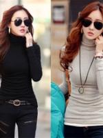 UM5712009 เสื้อยืดสาวเกาหลี คอเต่า แขนยาวสีพื้น (พร้อมส่ง) ดำเทา