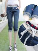JH5909012 กางเกงยีนส์สาวเกาหลี 5 ส่วน เอวยางยืดงานปัก(พรีออเดอร์) รอ 3 อาทิตย์หลังโอนเงิน