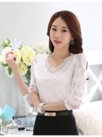 RP5911044 เสื้อลูกไม้เกาหลีสวยหวาน คอวีแขนยาว (พรีออเดอร์)