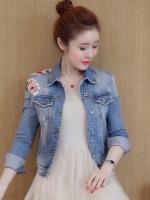 FW6009018 เสื้อแจ็กเก็ตยีนส์พิมพ์ดอกไม้หวานสาวเกาหลี (พรีออเดอร์)