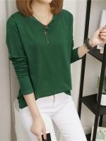 UM6102022 เสื้อยืดคอกลมแขนยาวสีเขียว น้ำเงิน ดำ