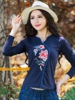 UM6103003 เสื้อยืดโมฮีเมียนแขนยาวคอกลมแต่งลายปะดอกไม้หวาน
