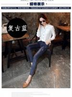 JH6007005 กางเกงยีนส์เกาหลี 9 ส่วนขาเดปเข้ารูปแต่งขาดเซอร์ (preorder)
