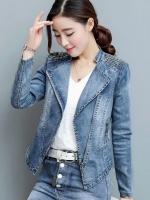 FW6009019 เสื้อแจ็กเก็ตยีนส์ตัวสั้นปกสูทแต่งลูกปัดสาวเกาหลี (พรีออเดอร์)