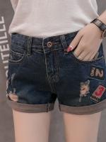 JY6006001 ยีนส์ขาสั้นฤดูร้อนวินเทจย้อนยุคทำขาดฝอยสีน้ำเงินเข้มสาวเกาหลี (พร้อมส่ง)
