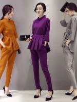 UP5910010 เสื้อชุดกางเกงสูทผู้หญิงคอกลมแขนยาวสาวทำงานแฟชั่นเกาหลี
