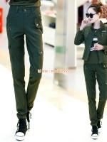 HW6107005 กางเกงยีนส์ สีเขียวกองทัพทหาร แฟชั่นเกาหลี (พรีออเดอร์) รอ 3 อาทิตย์หลังโอนเงิน