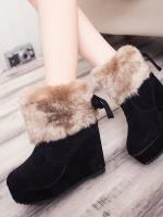 YW5912010 รองเท้าฤดูหนาวส้นแบนลาดแต่งเฟอร์ขน (พรีออเดอร์) รอ 3 อาทิตย์หลังโอนเงิน