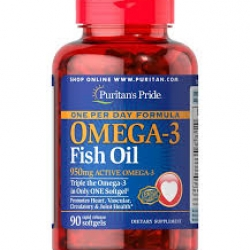 Puritan's Pride One Per Day Omega-3 Fish Oil 1360 mg (950 mg Active Omega-3) / 90 Softgels