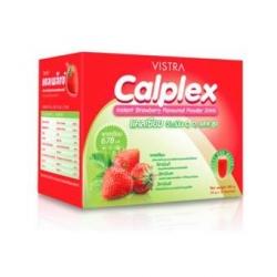 Vistra Calplex Instant Powder Drink แคลเพล็กซ์ แคลเซียม เครื่องดื่มสำเร็จรูปชนิดผง รสสตรอเบอร์รี่ 10 ซอง