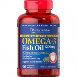 Puritan's Pride Double Strength Omega-3 Fish Oil 1200 mg/600 mg Omega-3 / 90 Softgels