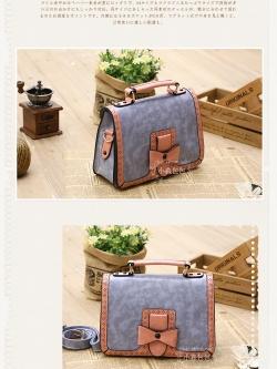 กระเป๋าหนัง pu รุ่นสะพายไหล่ แต่งโบว์ด้านหน้า สีม่วงอ่อน