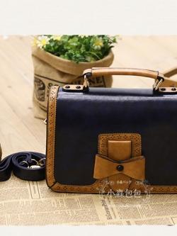 กระเป๋าหนัง pu รุ่นสะพายไหล่ แต่งโบว์ด้านหน้า สีน้ำเงิน
