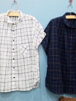 เสื้อเชิ้ตสไตล์ญี่ปุ่น ลายตารางสีขาว