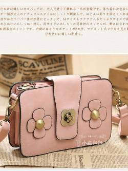 กระเป๋าหนัง pu รุ่นสะพายไหล่ทรงกระเป๋าสตางค์ สีชมพู