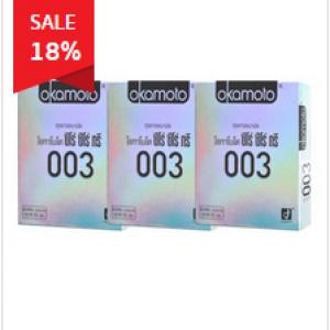 Okamoto ถุงยางอนามัย Zero Zero Three ความหนา 0.03 มม. - (แพ็ค x 3 กล่อง) ให้ความบางพิเศษ เป็นแบรนด์ที่มียอดขายอันดับ 1 ในญี่ปุ่นเลยทีเดียว ให้คุณมั่นใจในคุณภาพได้เลย