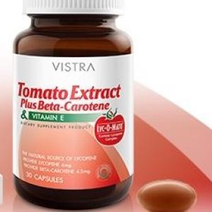 Vistra Tomato Extract Plus Beta-Carotene&vitamin E วิสทร้า สารสกัดจากมะเขือเทศ ผสม เบต้า-แคโรทีน และวิตามินอี น้ำหนักสุทธิ 23.1 กรัม (30 แคปซูล)