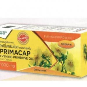 PRIMACAP Evening Primrose Oil 1000 mg.(น้ำมันอีฟนิ่งพริมโรส) ช่วยบำรุงผิวพรรณ 30 Capsules 2 กล่อง