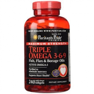 Puritan's Pride Maximum Strength Triple Omega 3-6-9 Fish, Flax & Borage Oils 240 Softgels