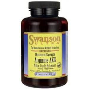 Swanson Ultra Maximum Strength Arginine AKG Nitric Oxide Enhancer 1,000 mg / 90 Caps