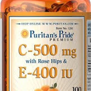 Puritan's Pride Vitamin C & E 500 mg/400 IU with Rose Hips / 100 Softgels