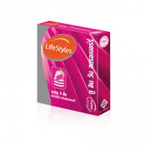 Lifestyles ถุงยางอนามัย 2 In 1 Strawberry Condom 52 มม.