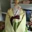 """Hanbok ผ้าไหมพรีเมี่ยม สีเหลืองตัดเขียวใบไม้ อก 34"""" สูง 160 thumbnail 2"""