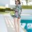 [Size M, L, XL] ชุดว่ายน้ำวันพีชขาสั้นซิปหน้า ลาย Tropical สีดำ thumbnail 6