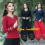 UM6102018 เสื้อยืดแขนยาวโมฮีเมียนสีดำและแดง เย็บปักถักร้อยชาติพันธุ์ thumbnail 1