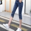 JH6101001 กางเกงยีนส์ สไตร์สาวเกาหลี ขา 5 ส่วน แต่งลูกปัด thumbnail 4