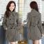 CW6010008 เสื้อโค้ทเสื้อคลุมกันหนาวเกาหลีผ้าผสมขนสัตว์สีดำและขาว(พรีออเดอร์) thumbnail 4