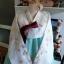 """Hanbok ผ้าไหมพรีเมี่ยม สีขาวมิ้น 36"""" สูง 160 thumbnail 2"""