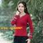 UM6102018 เสื้อยืดแขนยาวโมฮีเมียนสีดำและแดง เย็บปักถักร้อยชาติพันธุ์ thumbnail 2