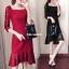 RP6107002 ชุดลูกไม้กระโปรงยาวคอเหลี่ยมแดงและดำเข้ารูปเกาหลี(พรีออเดอร์) thumbnail 1