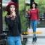 UM6102014 เสื้อยืดแขนยาวโมฮีเมียนสีดำและแดง เย็บปักถักร้อยชาติพันธุ์ thumbnail 5