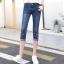 JH6101001 กางเกงยีนส์ สไตร์สาวเกาหลี ขา 5 ส่วน แต่งลูกปัด thumbnail 1